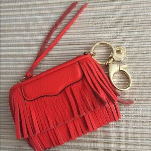 Rebecca Minkoff orange leather fringe coin purse
